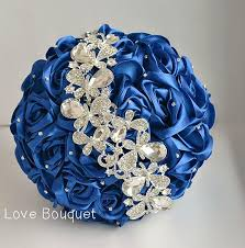 Wedding Bouquet Blue White And Silver Brooch Royal Bridal Jewelry Broach Crystal