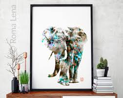 Elephant Photo Wall Art Print African Animal Poster Digital Mixed Media