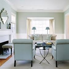 White And Blue Living Room Features Upper Walls With Light Grasscloth Wallpaper Lower