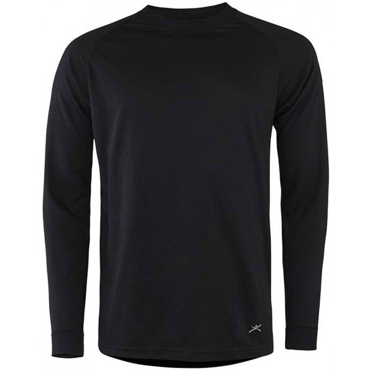 Terramar Men's Authentic 2 Layer Crew Top Thermal Underwear - Black, Small