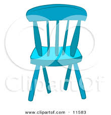 Blue Wooden Chair Clipart Illustration