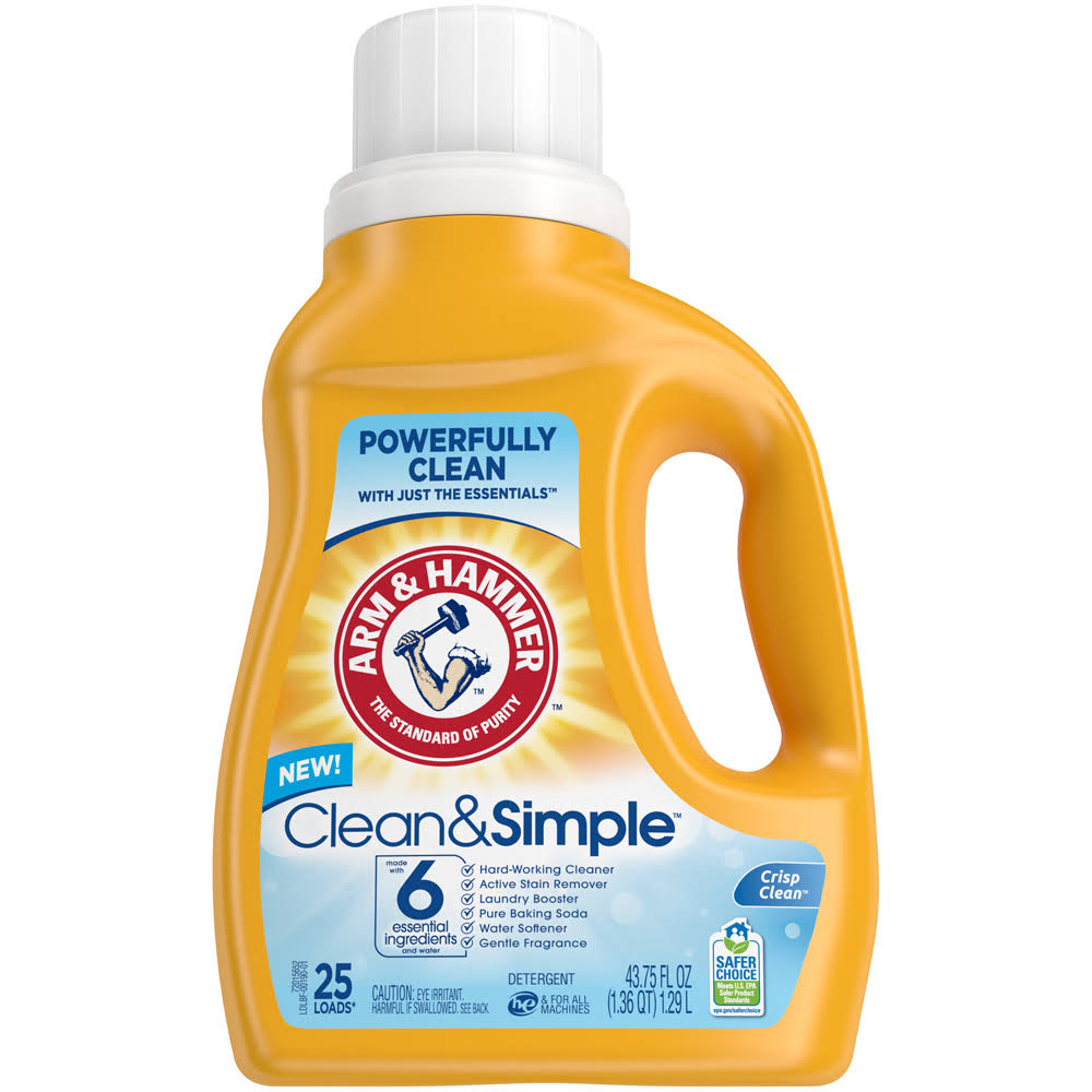 Arm & Hammer Clean & Simple Liquid Laundry Detergent, 43.75 oz