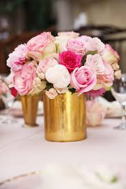 Lovely Pink Wedding Flower Centerpieces Combined With White Roses And Light