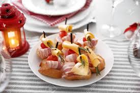 canapes for tasty canapes for festive dinner table setting stock