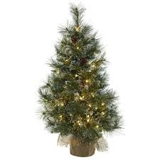 3 Artificial Christmas Tree With Clear Lights Frosted Tips Pine Cones Burlap