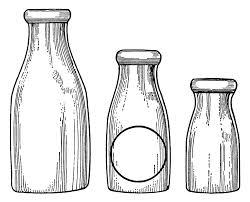 milk bottle clip art vintage dairy paper ephemera black and white graphics