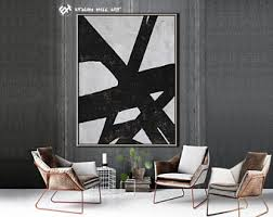 Large Vertical Wall Art 11 Black White Abstract Painting Contemporary Geometric Ethan