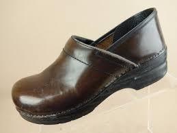 dansko professional brown leather nursing clogs mules shoes womens