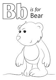 Letter B Is For Bear Coloring Page Kids