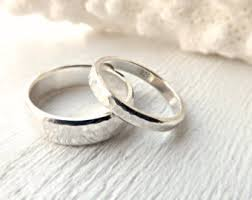 Silver Wedding Bands Rustic Rings Matching Ring Set His And Hers