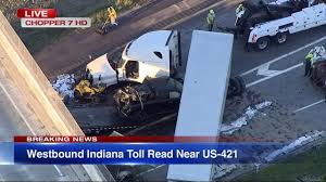 Semi Crash Closes Westbound Indiana Toll Road Under US 421 ... Beer Truck Spills Part Of Load On I65 After Rollover Accident Tractor Trailer Accident Kills Driver News The Leader Corning Ny Indianapolis Attorneys Smart2mediate Man Killed In Fiery Semi Crash On Indiana Tollway Idd Abc7chicagocom In Lawyers Dennis Caslin Killed Three Others Wounded At A Injured Wreck State Road 135 Kokomo Man Early Morning Kotribunecom Says Sneezing Fit While Talking To Siri Led Rollover Inrstate 84 Auto Workers Marvel As Truck They Built Driver Receives New For Accidentfree Record