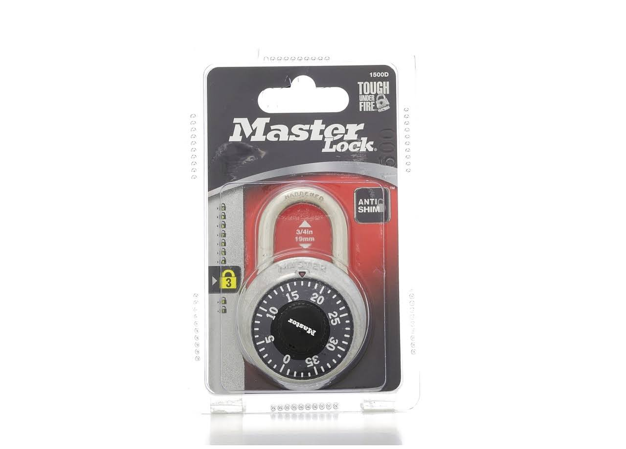 "Master Lock Combination Padlock - Stainless Steel, 1 7/8"" Wide, Black Dial"