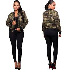 2017 New Fashion Short Bomber Jacket Women Slim Casual Coat Zip Outerwear Army Camouflage Top Trendy