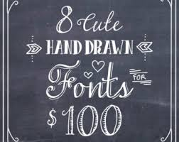 8 FONT BUNDLE Sale Discount Deal Hand Drawn French Whimsical