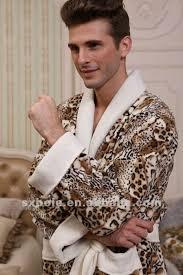 robes de chambre polaire deux ailes imprimé léopard polaire peignoir robe hommes pyjama