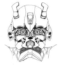 Bumblebee Car Transformers Head Picture Colouring Page