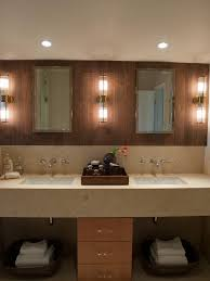 Double Sink Vanity With Dressing Table by Ceramic Wood Tile Bathroom Beige Large Window Curtains Beside