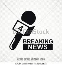 News Vector Breaking And Microphone Icon Modern Flat Design