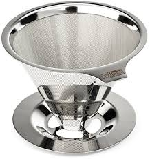 Cafellissimo Paperless Pour Over Coffee Maker 188 304 Stainless Steel Reusable Drip Cone Filter Single Cup Brewer