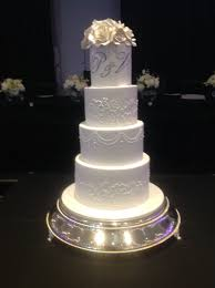 Tall elegant Wedding Cake with Brushed Embroidery and initials