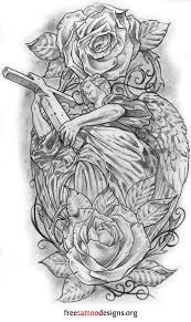 Angel Tattoo Design With Cross And Dove Roses