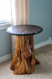 How To Create A Side Table From Cedar Stump Log DIY Woodland Nursery Cabin Furniture