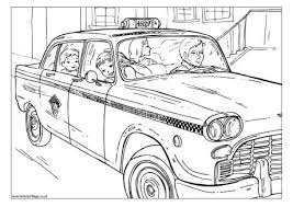 New York Cab Colouring Page