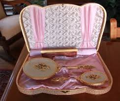 Vanity Mirror Dresser Set by Vintage Dresser Vanity Brush Comb Mirror Set Gold Toned In Case