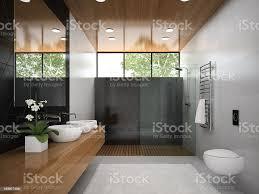 innenansicht badezimmer mit holzdecke 3d abbildung 6 stockfoto und mehr bilder 2015