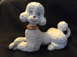 Atlantic Mold Ceramic Christmas Tree History by Vintage 1966 Atlantic Mold White Ceramic Poodle Dog Blue Eyes