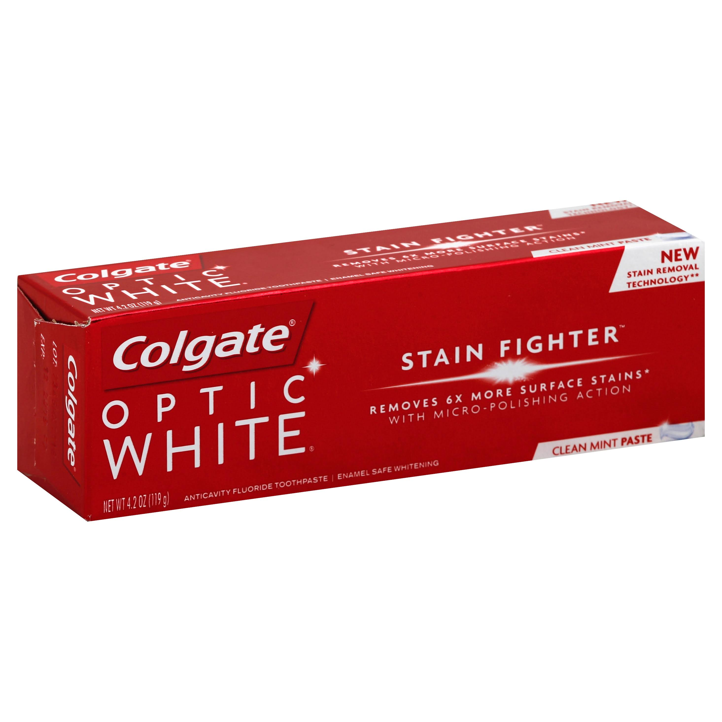 Colgate Optic White Stain Fighter Clean Mint Toothpaste - 4.2oz