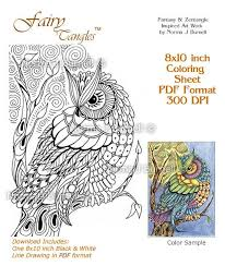 Moon Owl Fairy Tangles Adult Coloring Book Page By FairyTangleArt