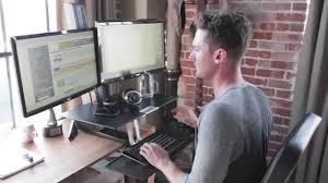 Ergotron Sit Stand Desk by Ergotron Workfit S Sleek And Ergonomic Sit Stand Desk Youtube