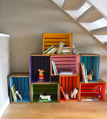 Furniture Funny Multicolored Diy Wood Crate Desaign Ideas With Heap Accent Under White Stair On