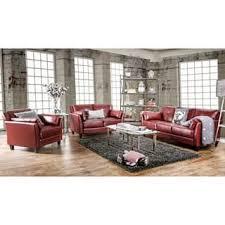 Furniture of America Pierson Double Stitched Leatherette 3 piece Furniture Set Option Black