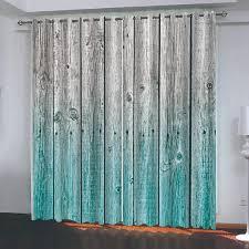 großhandel benutzerdefinierte bcurtain dekoration 3d kurz blau grau holzbrett vorhänge für schlafzimmer wohnzimmer polyester raum vorhang