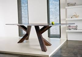 Immaculate Unfinished Wooden Base Modern Dining Table With Unique Style On White Floors Accent As Well Wall Mount Cabinetry Shelves Interior