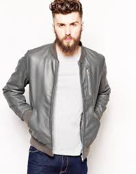 asos leather bomber jacket in gray for men lyst