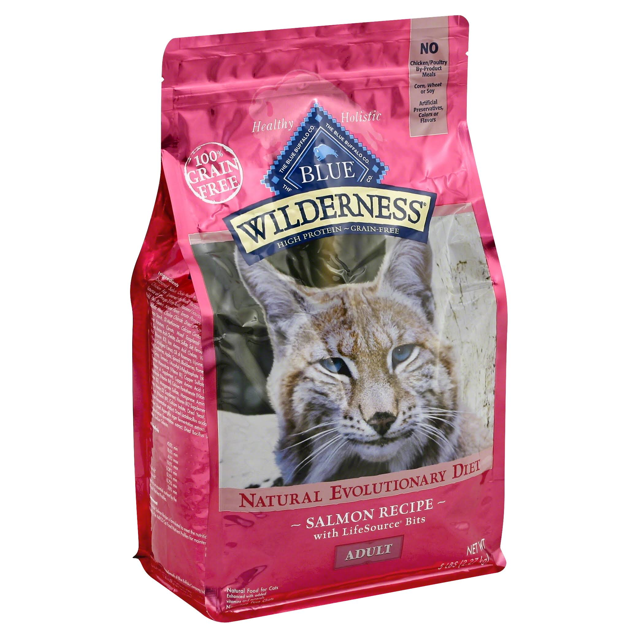Blue Buffalo Wilderness High Protein Cat Food - Dry, Adult, Salmon Grain, 5lb
