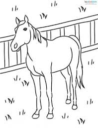 Horse In Pasture Coloring Page