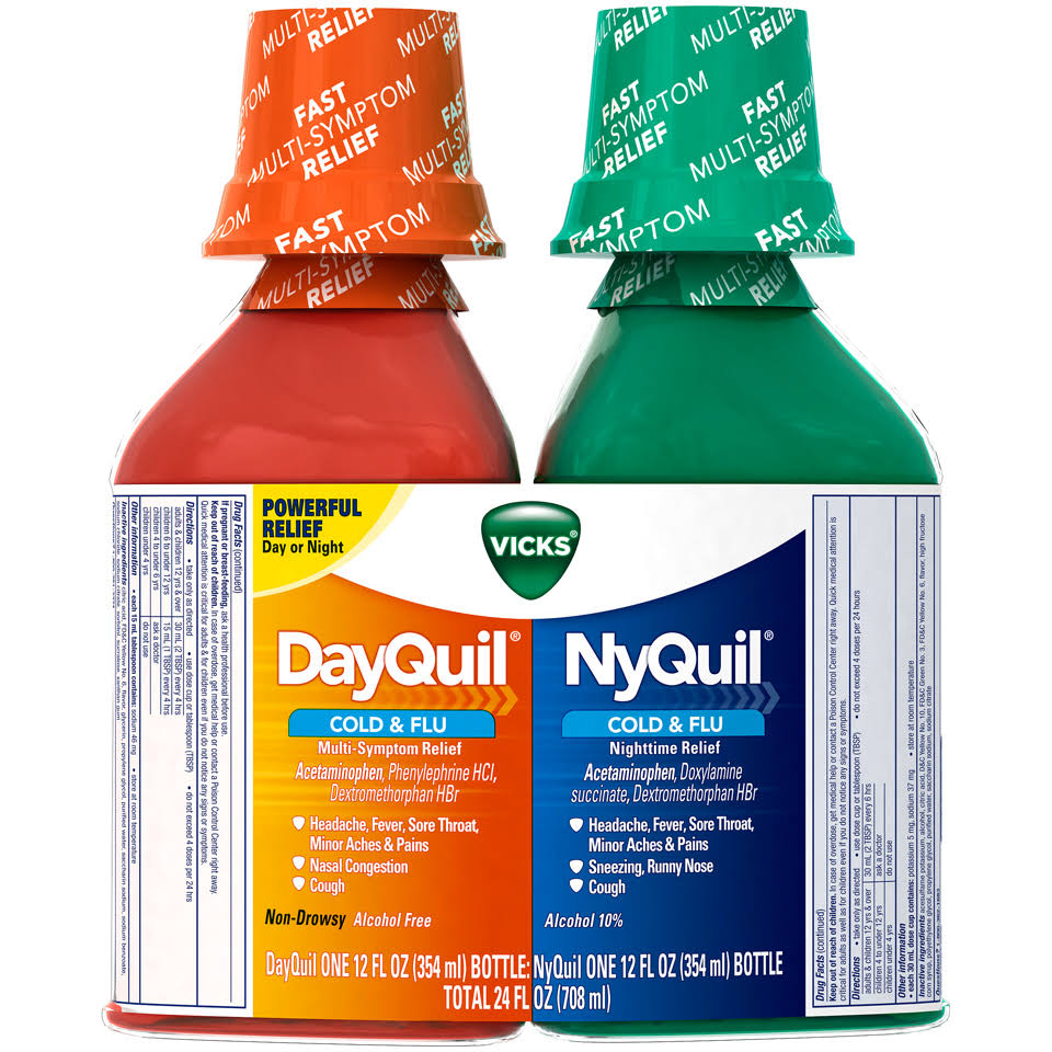 Vicks Cold & Flu Relief, DayQuil, NyQuil, Combo Pack - 2 bottles, 24 fl oz
