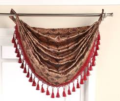 Waterfall Valance Curtain Set by Jacquard Waterfall Valance With Grommets U0026 Fringes Available In 5
