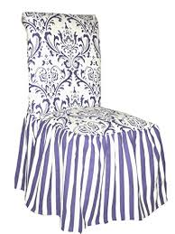 Classic Slipcovers CSI Damask Ruffled Dining Chair Cover Blue Stripe