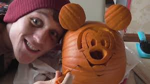 Mickey Mouse Pumpkin Designs by Making A Mickey Mouse Pumpkin For Halloween Youtube