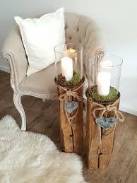 holzbalken säule dekoration windlicht altholz leuchter