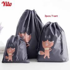 3 Pcs Cosmetic Bag Set Fashion Travel Packing Drawstring Clothing Wash Bags Ladies Make Up