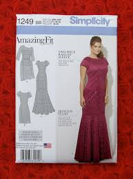 simplicity sewing pattern 1249 amazing fit dress evening gown