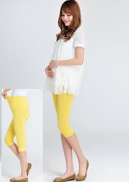 simple plain maternity capri legging pants yellow