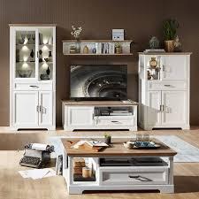 landhaus wohnwand inkl couchtisch jülich 36 in pinie weiß und artisan eiche nb vitrine inkl led b h t 359 204 51cm