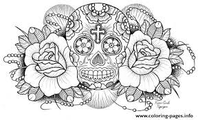 Printable Sugar Skull Roses W Cross Coloring Pages
